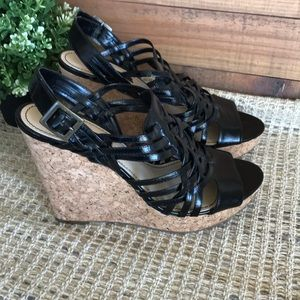 Nine West Black Platform Wedge Heels Size 10